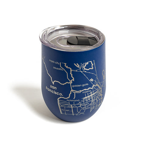 Well Told Design, Map of San Francisco & Oakland Wine Tumbler