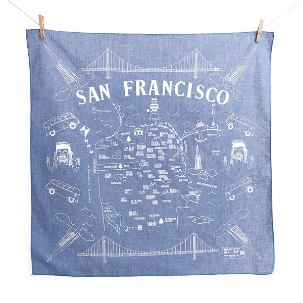 Maptote, Map of SF Bandana in Chambray