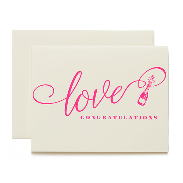 Coffee n Cream Press, Love Congratulations letterpress card