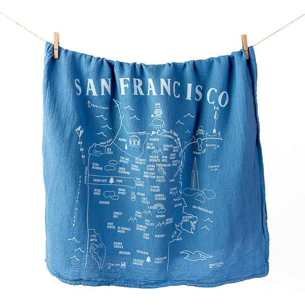 Maptote, Map of SF Tea Towel in Blue