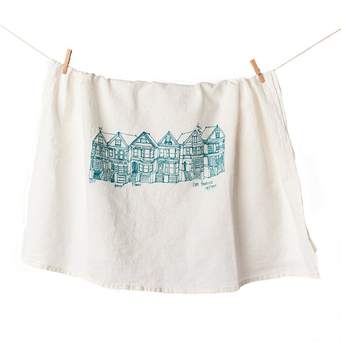Girls Can Tell, Painted Ladies of San Francisco Tea Towel