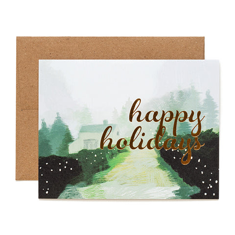 Ferme à Papier, Happy Holidays gold foil card