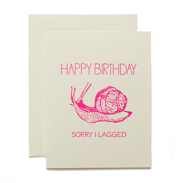 Coffee n Cream Press, Happy Belated Birthday letterpress card