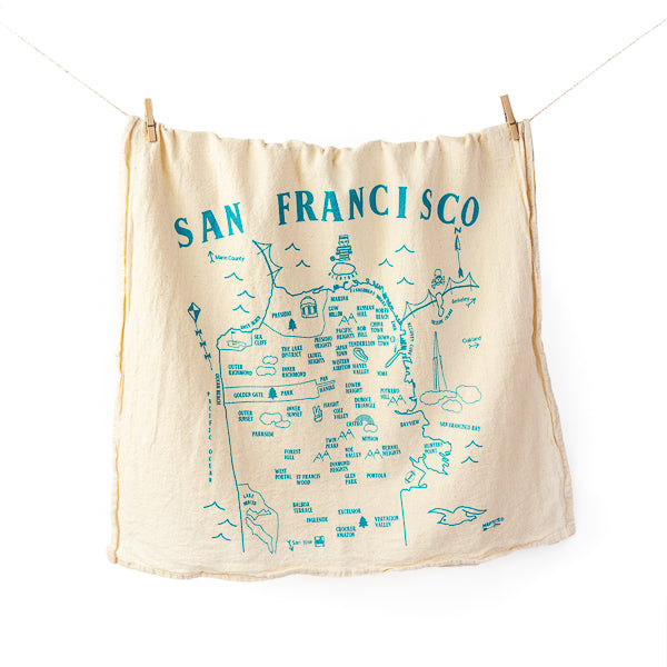 Maptote, Map of SF Tea Towel in Natural