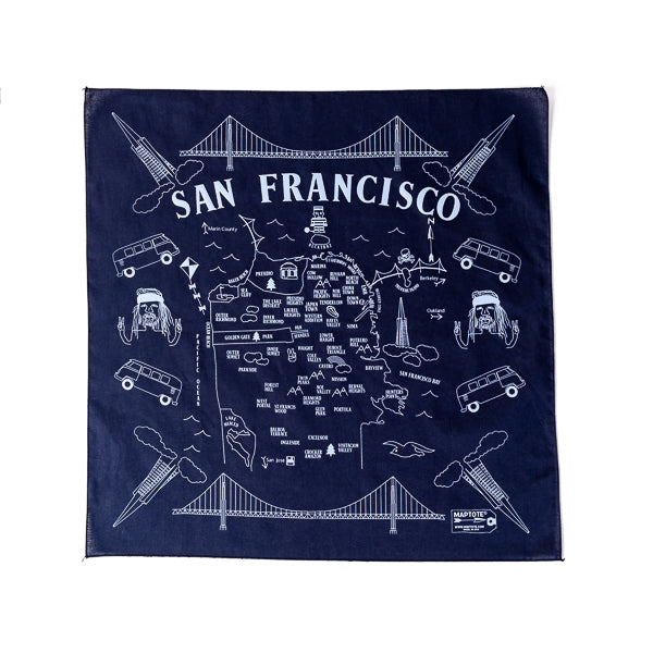 Maptote, Map of SF Bandana in Navy