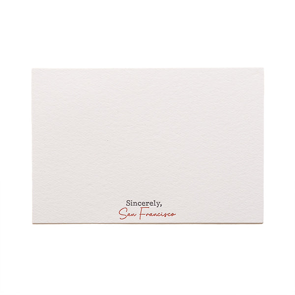 Sincerely San Francisco, Letterpress Card