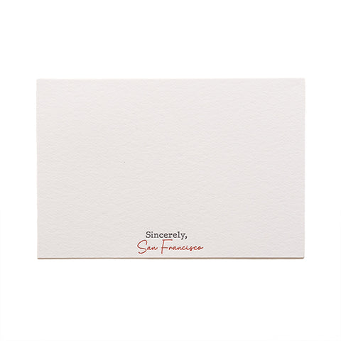 Sincerely San Francisco letterpress notecard