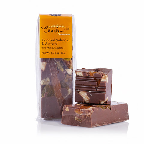 Charles Chocolates, Candied Valencia Oranges & Almond Mini Chocolate Bar