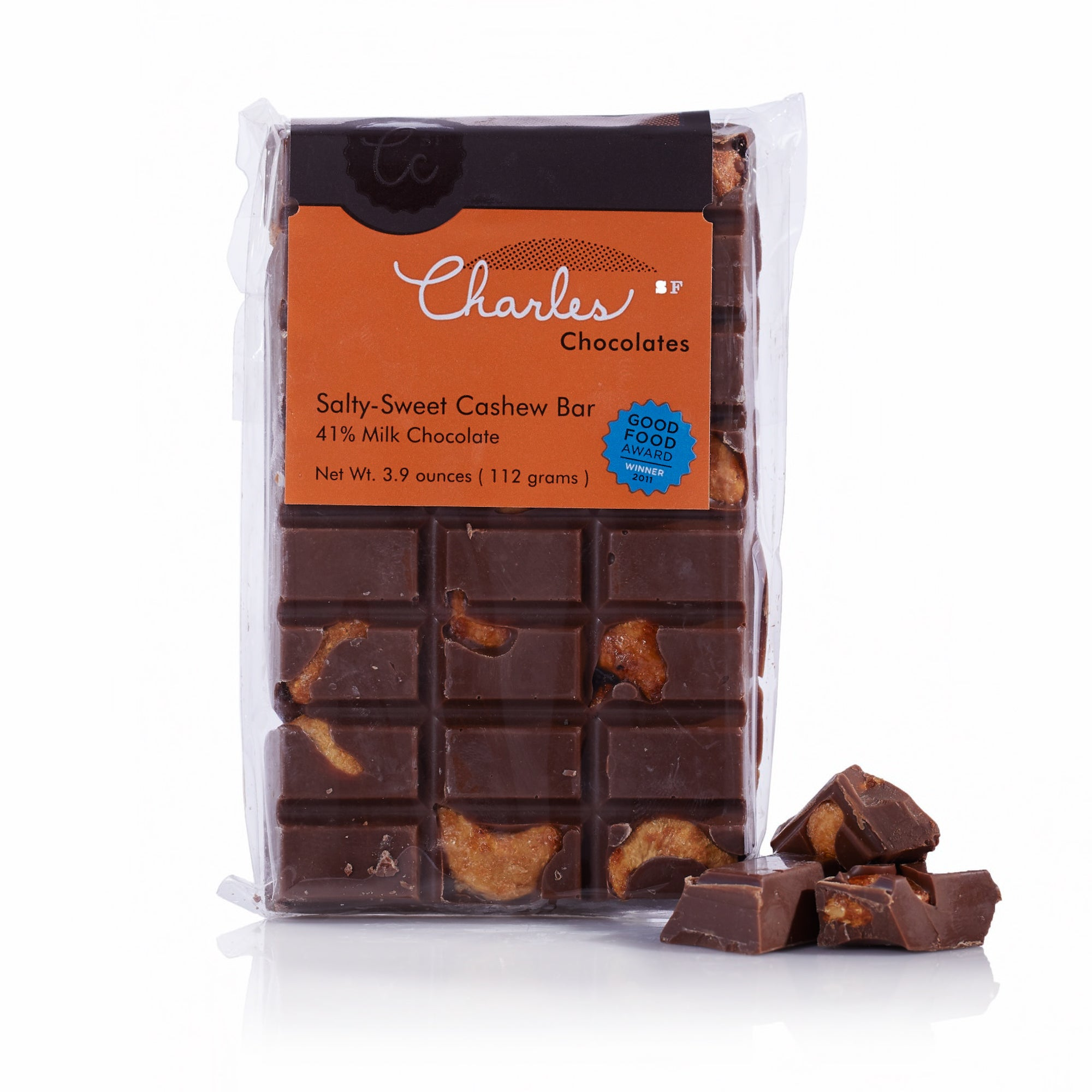 Charles Chocolates, Sweet Salty Cashew Milk Chocolate Bar