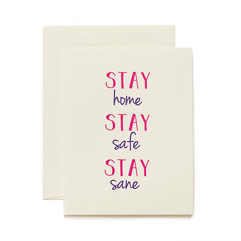 Coffee n Cream Press, Stay Safe letterpress card