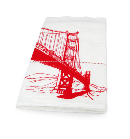 The Heated, Flour Sack Dish Towel - Golden Gate Bridge
