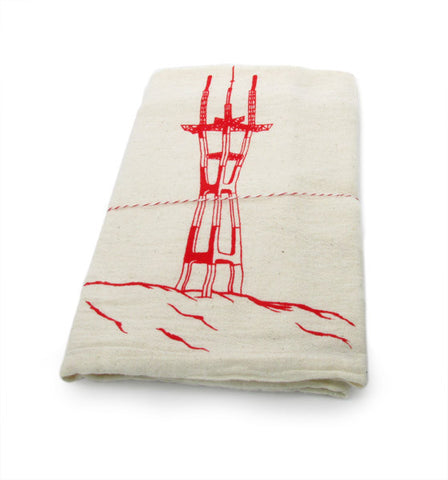 The Heated, Flour Sack Dish Towel - Sutro Tower