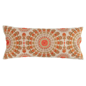 "32""L x 14""H Cotton Embroidered Lumbar Pillow, Multi Color"