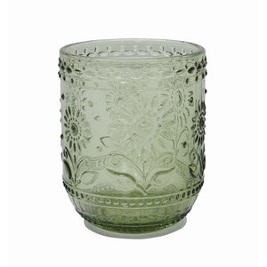 "4""H 12 oz. Embossed Drinking Glass, Green"