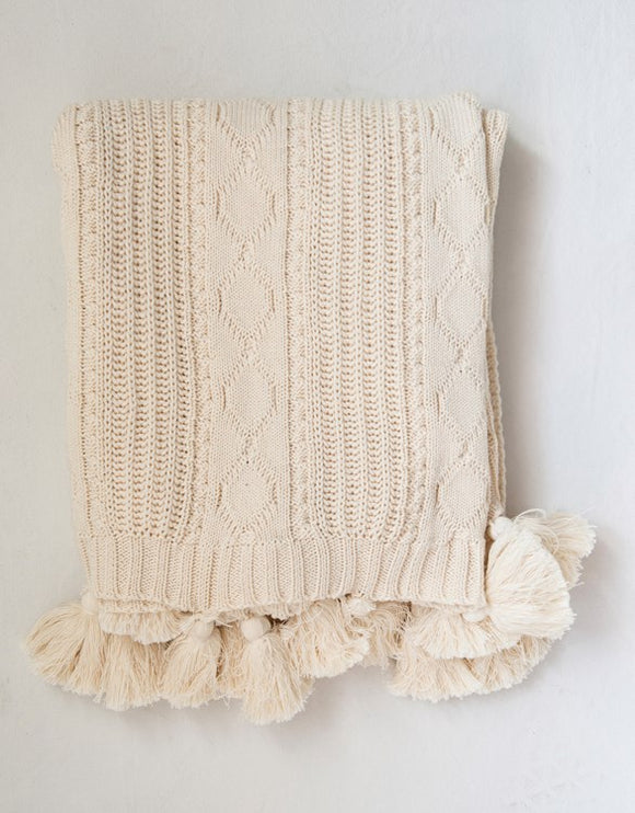 Cotton Knit Cable Throw