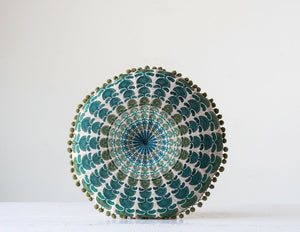 "15"" Round Embroidered Pillow"