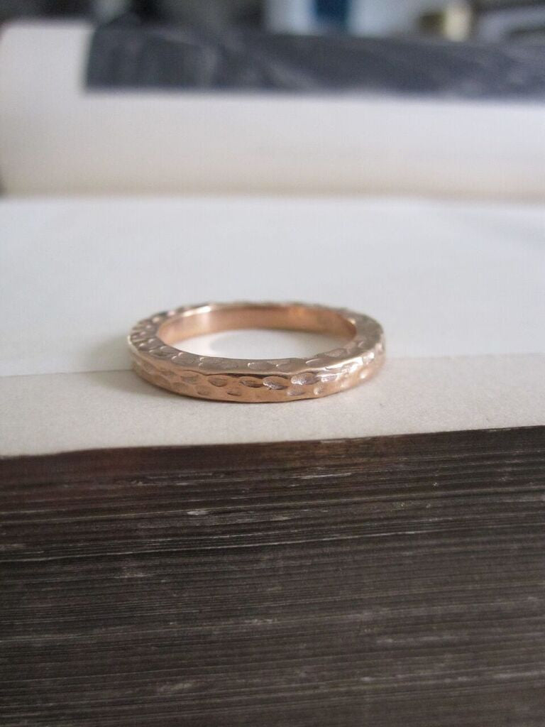 925 silver hammered band- Rose Gold Plated