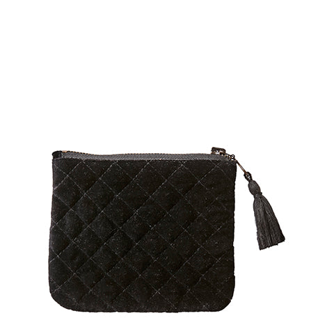 Cotton Velvet Toulouse Clutch Bag - Small Black