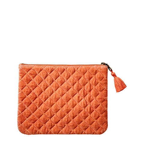 Cotton Velvet Toulouse Clutch Bag - Medium Dusty Orange