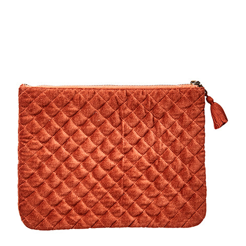 Cotton Velvet Toulouse Clutch Bag - Medium Sienna