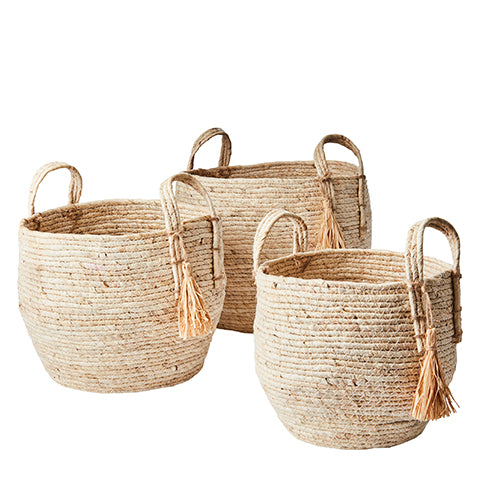 Basket set of 3 COLLECT made from Maize leaf