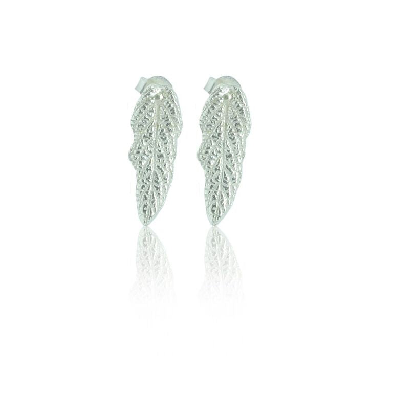 CollardManson 925 Silver Leaf Stud Earrings