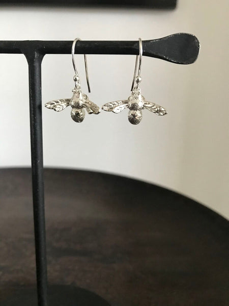 925 Silver Bee Drop Earrings
