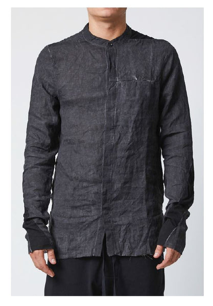thom/krom SS19 M H 104 Mens Shirt- Black Oil