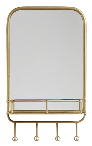 Mirror w. rack, metal, Gold