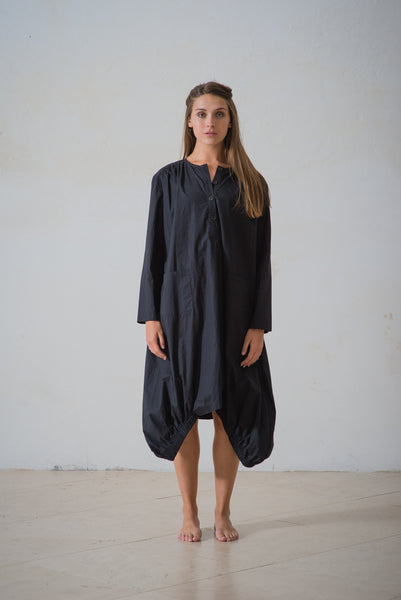 WDTS Aisha Long Dress in Poplin - Black