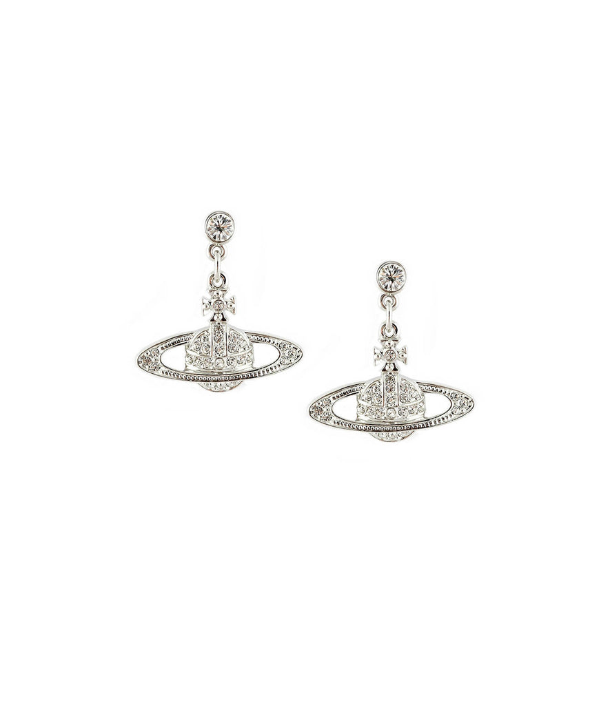 Vivienne Westwood Mini Bas Relief Drop Earrings - Rhod/Crystal