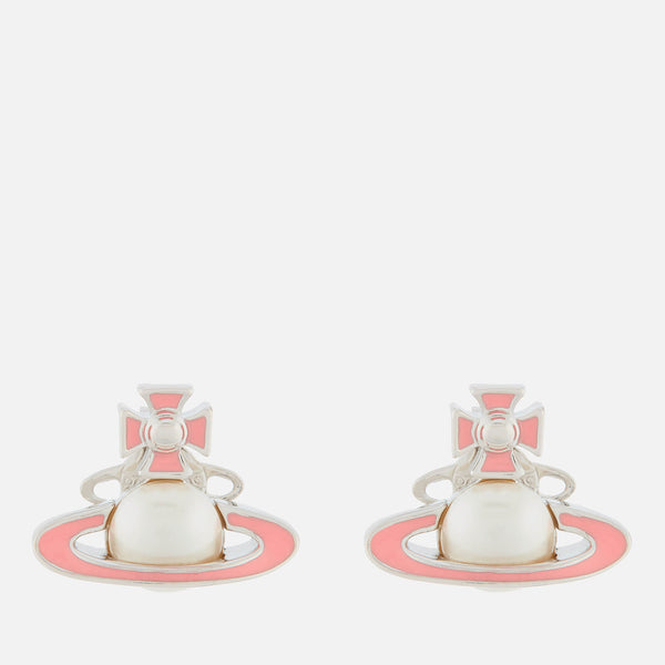 Vivienne Westwood Iris Bas Relief Earrings - Rhodium/ Pearl Pink