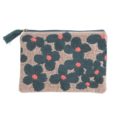 Pouch, grey w/blue/pink flower embroidery 26x18
