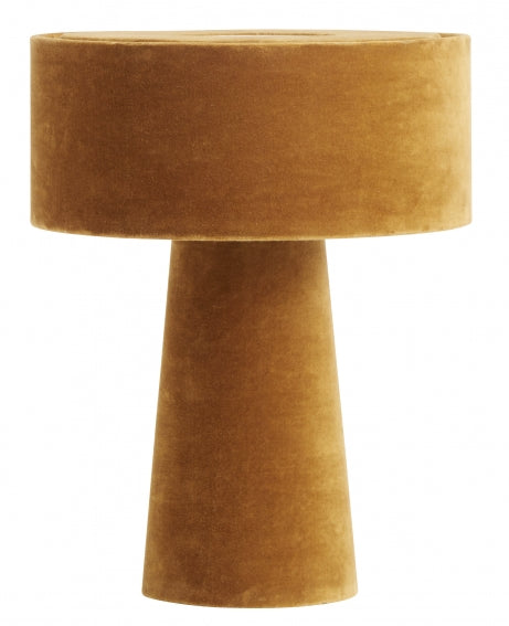 Mushroom table lamp- mustard velvet