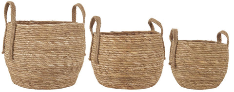 Basket set of 3 w/jute handles natural seagrass