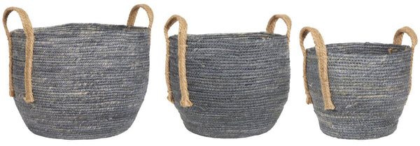 Basket set of 3 w/jute handles Blue Grey