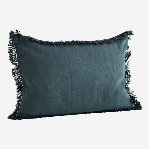 CUSHION COVER W/ FRINGES petrol