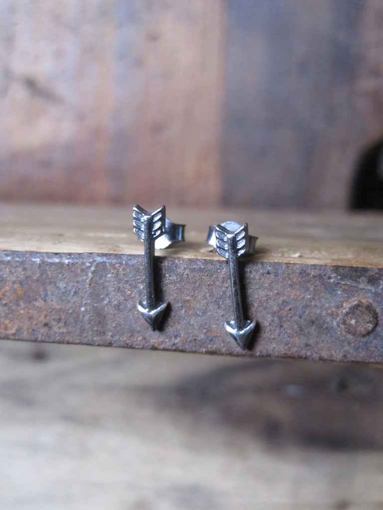 925 Oxidised Silver Small Arrow Studs