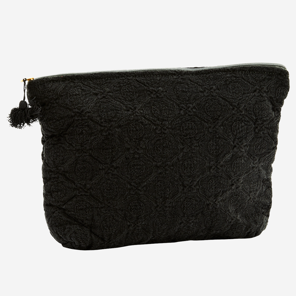 Embroidered linen toiletry bag - black large