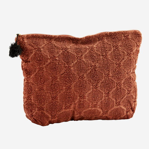 Embroidered linen toiletry bag - paprika