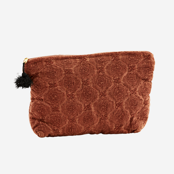 Embroidered linen toiletry bag - small paprika