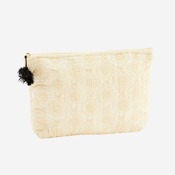 Embroidered linen toiletry bag - small vanilla
