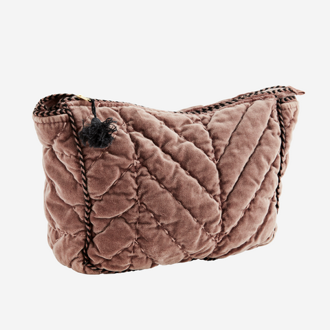 DUSTY ROSE QUILTED VELVET TOILET BAG W/ PIPING