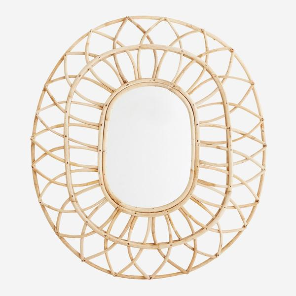 OVAL MIRROR W/BAMBOO FRAME