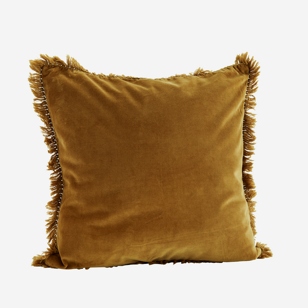 Velvet Cushion w/ Fringes - Sugar Almond
