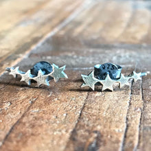 925 Oxidised Silver Multi star Studs