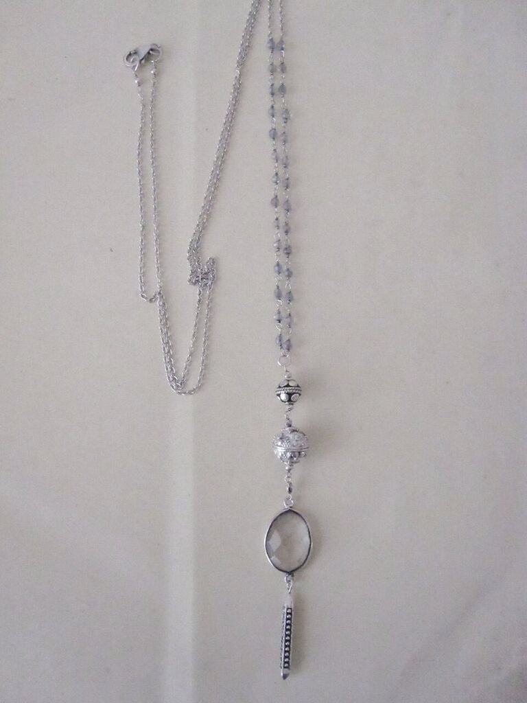 Ornate Silver double beaded Necklace