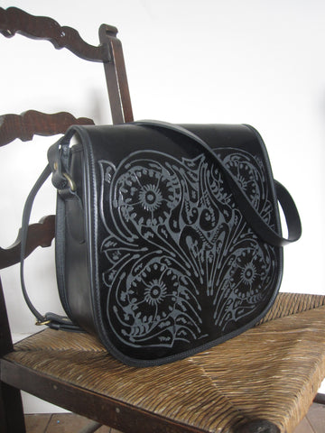 Saddle Bag- Embossed leather