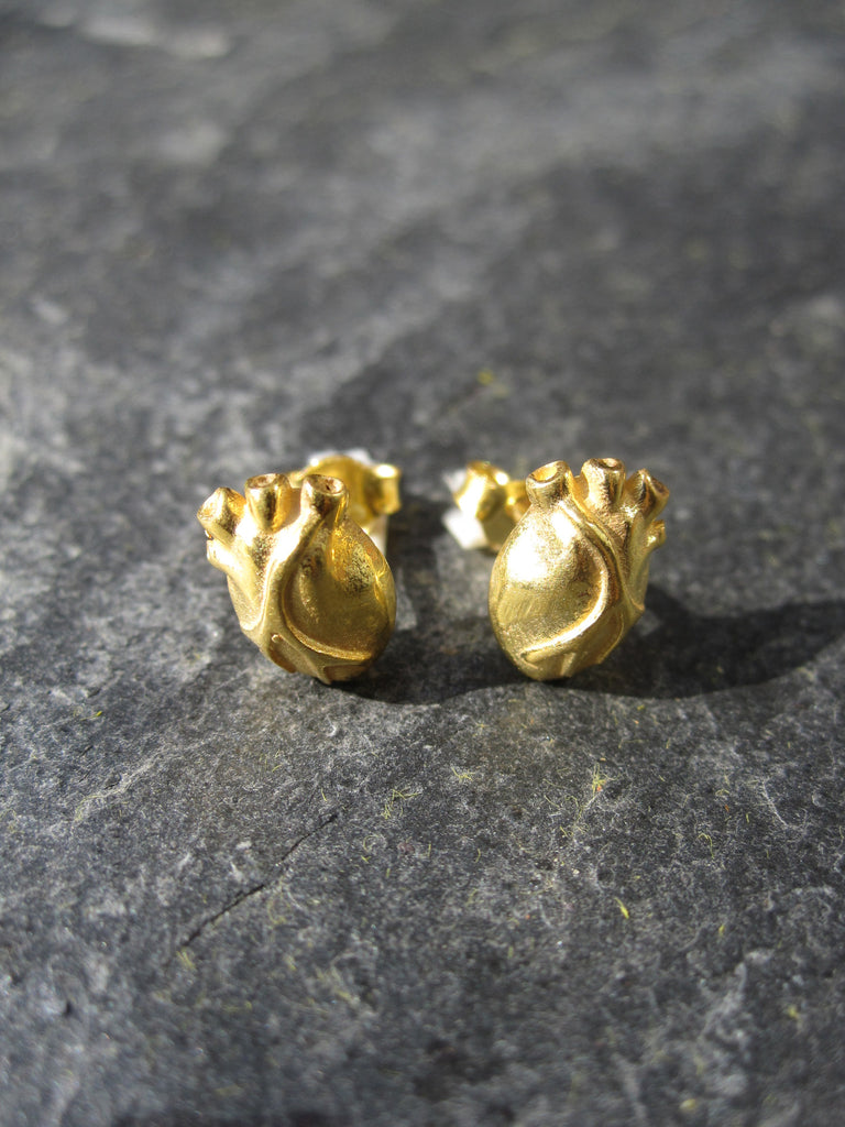 WDTS gold plated 925 Silver Heart Earrings.