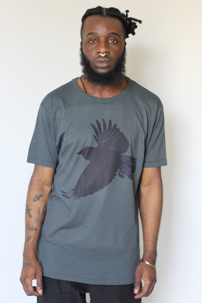 Window Dressing The Soul- Crow Jersey T Shirt Charcoal